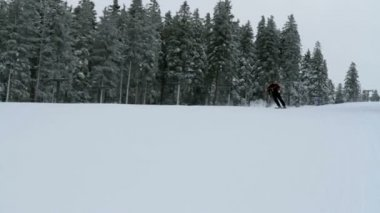 Group of people skiing in idyllic winter time — Stock Video