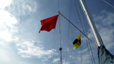 Different flags on sailboats in the harbor — Stockvideo