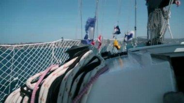 Different ropes while preparing for sailing regatta — Stock Video
