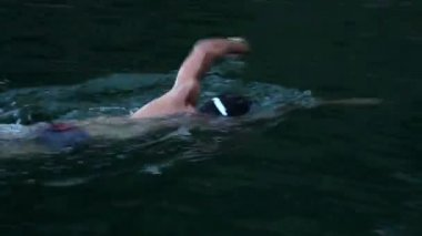 Moscular man swimming crawl in the lake — Stock Video
