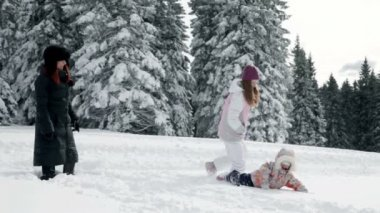 Mother and two children enjoying on snow in idyll — Stok video