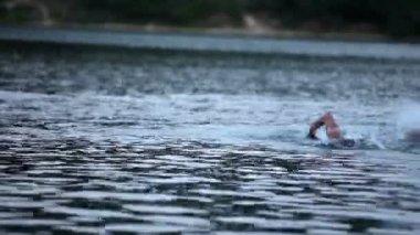 Moscular man swimming crawl in the lake — Stock Video