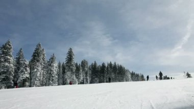 Ski slope with people skiing in winter idyll — Vidéo
