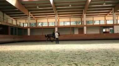 Big hall for training young girl riding horse for equestrianism — ストックビデオ