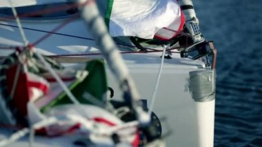 Details of sailboats while preparing for sailing regatta — Stockvideo