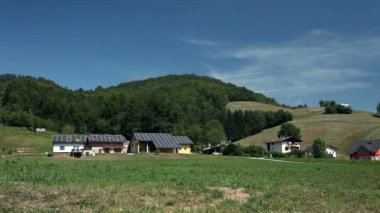 Solar panel houses on a farm — Stock Video