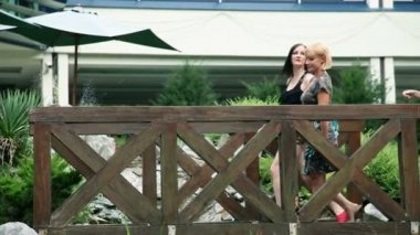 Vier schöne frauen, die zu fuß über die holzbrücke im park — Stockvideo