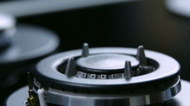 Close up on cooktop on gas cooker — Stock Video