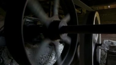 Close up on spinning wheels of watermill — Stock Video