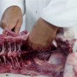 Cutting bones of turkey meat — Stock Video