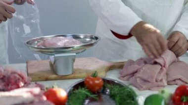 Weighing turkey stakes in butchery — Stock Video