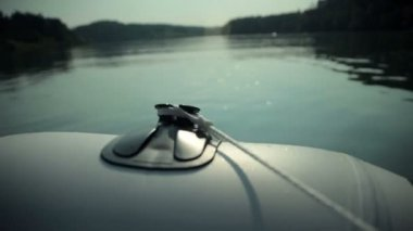 Close up on motor boat speeding on lake — Stock Video