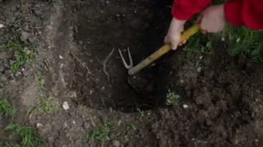 Digging a hole in garden — Stock Video