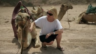 Attractive woman patting a camel — 图库视频影像