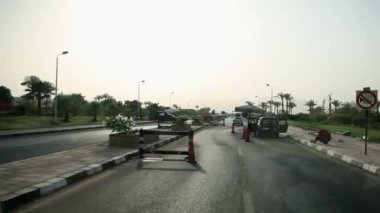 Passing by road blocks in Egypt — Stock Video
