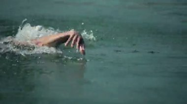 Close up on tracking a man swimming in lake — Vídeo Stock