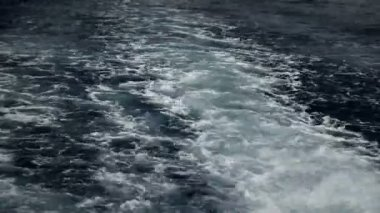Bubbles in sea from under sea boat — Stock Video