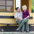 Pregnant womsitting in boyfriend's lap while he is showing appreciation — Vídeo de stock #37906221