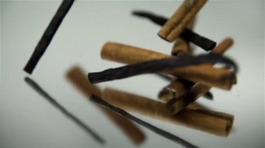 Cinnamon and vanilla sticks falling on mirror on white background — ストックビデオ