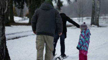 два родителям ходить на большие лыжи один в передней из них на спине — Стоковое видео