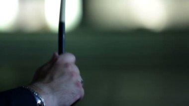 Hands of a man playing around wiht drum sticks — Stock Video