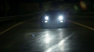 Corvette Driving On Concrete Road At Night — Stock Video