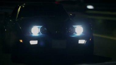 Blue Corvette Driving On Highway In The Dark — Stock Video