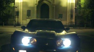 Low Angle Corvette Headlights Shot — Stock Video