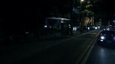 Beautiful Diagonal Shot Of Blue Corrvete Overtaking At The City Night Ride — Stock Video