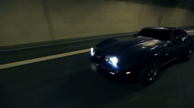 Low angle of blue car driving around — Vídeo Stock