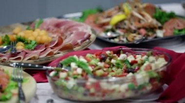 Buffet full of different food delights — Stock Video