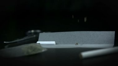 Throwing tobacco onto the smoking paper — Stock Video