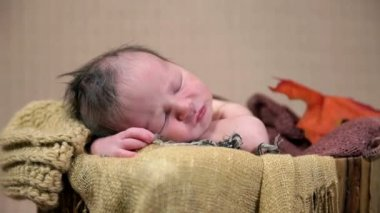 Baby sleeping in an autumn style arranged bed — Stockvideo