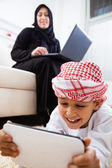 Arabic mother and son at home — Stock Photo
