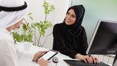 Arabic business couple work — Stock Photo