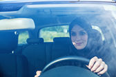 Middle Eastern Woman Driving Car — Stock Photo