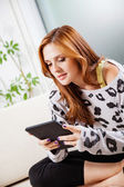 Woman Using Digital Tablet — Stock Photo