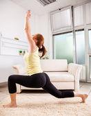 Female Doing Yoga At Home — Stock Photo