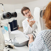 Ophthalmologist With Woman — Stock Photo
