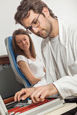Ophthalmologist With Trial Frame — Stock Photo