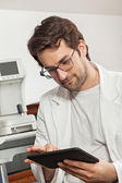 Ophthalmologist Using Digital Tablet — Stock Photo