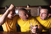 Friends Cheering On Team At Bar — Stock Photo