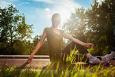 Young Girl Stretching — Stock Photo