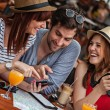 Tourists Taking Rest In Cafe — Stock Photo #50503671