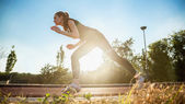 Woman On Jogging Track — Stock Photo