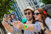 Two Tourists Taking Selfie — Stock Photo