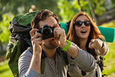 Tourists Sightseeing Nature — Stock Photo