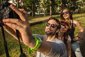 Tourists In Nature Taking Selfie — Stock Photo