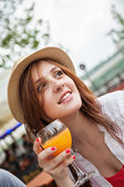 Woman Holding Glass With Juice — Stock Photo