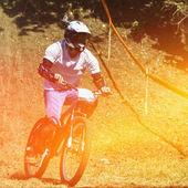 Mountain bike cyclist — Stock Photo